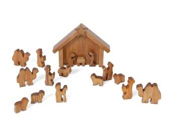 Amish-Made 14 Piece Wooden Nativity Manger Scene Set