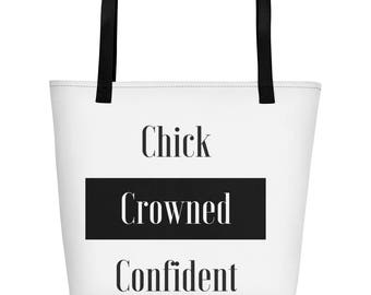 Chick Crowned Confident Striped Beach Bag