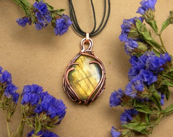 Labradorite pendant Wirewrapped jewelry Wire wrap necklace Natural Labradorite handmade copper necklace gemstone pendant gift for her