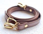 Brown or Cognac Faux Leather Detachable Replacement Purse Chain Strap - 17mm width
