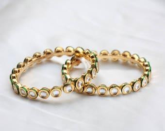 Set Of Two Kundan Kadas / Kundan Bangles / Round Kundan Bracelet / Indian Wedding Jewelry / Bollywood Bangles / Gift For Her