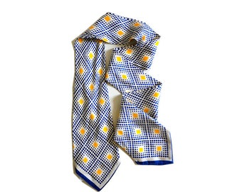 Men 100% SILK TWILL skinny tie scarf in blue and yellow dots.Antique gentlemen scarf.double fabric scarf.P75A133