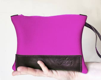 leather fuchsia clutch pochette, cotton ladies clutch purses, handmade accessories for mother's day, handmade handbags BBagdesign