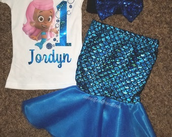 Girls bubble guppies birthday outfit!