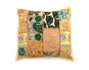 """Indian Pure Cotton Cushion Cover Home Patch Work Decorative Yellow Color Size 17x17"""""""
