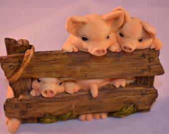 Vintage 80's 3 Little Pigs Artefice Ottanta Italy Handmade