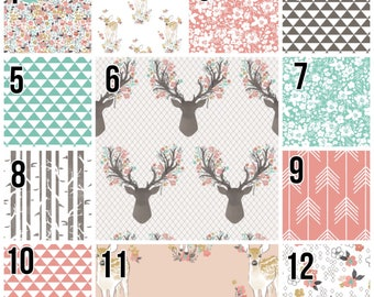 Custom modern, pink and gray patchwork baby girl blanket, quilt, deer heads and flowers