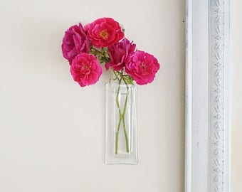 Clear glass vase, hanging vase, wall pocket vase, fused glass vase, church decoration, bud vase, wall vase, gift under 30