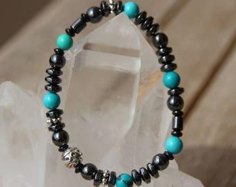 turquoise and hematite Beads Bracelet