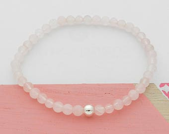 Semi-precious stone rose quartz and silver bracelet