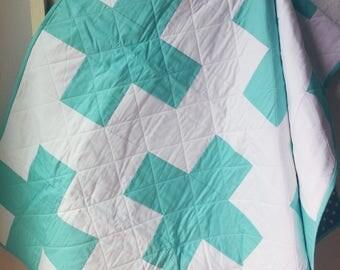 Plus Toddler Quilt, Modern Baby Quilt, Swiss Cross Quilt, Modern Quilt, Handmade Quilts, Aqua Plus Quilt, Baby Shower Gift