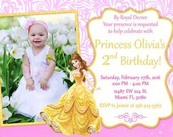 Princess Belle Invitation Birthday Princess Belle Party