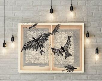 Birds Painting, Birds Print, Vintage Wall art, Painting On Old Book, Bird illustration, Art on Old Book, Bird Painting Print, Birds Wall Art
