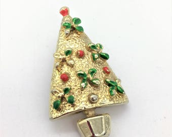 Vintage Gold Tone Christmas Tree Pin With Red & Green Enamel Decoration