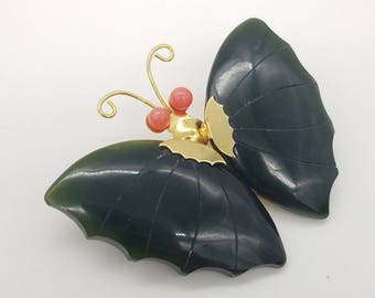 Vintage Carved Jade & Pink Coral Gold-Tone Butterfly Brooch / Pendant - Like New