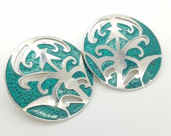 Vintage Signed Berebi Silver-Tone & Green Enamel Abstract Earrings