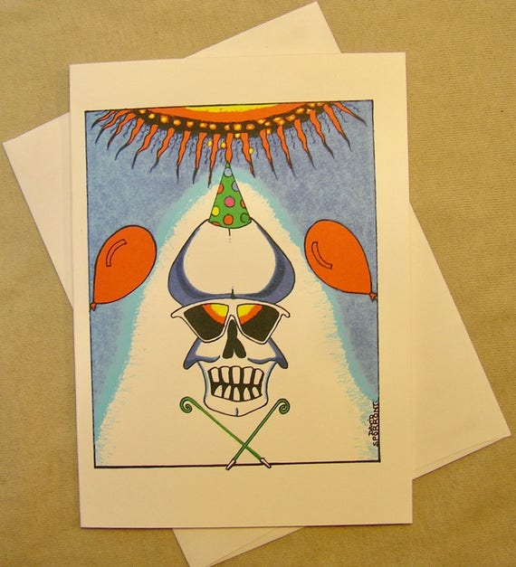 Grateful Dead Birthday Card Aoxomoxoa Skull Regular size