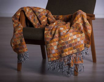 Orange woolen throw - Stylish merino wool blanket - Woven bedspread - Wool coverlet - Sofa throw - Christmas gift - Stroller winter blanket
