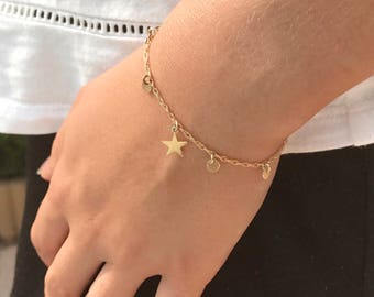 Bracelet boho chic gold plated star with tassels