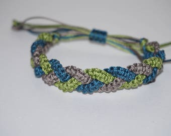 Adjustable Braided Macrame Bracelet! Gray, Blue and Green!