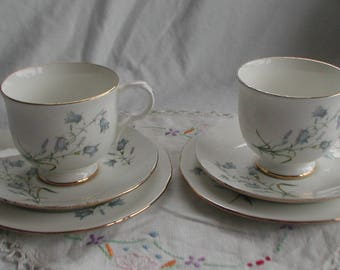 "Sadler ""Wellington"" Bluebell Design Cup Saucer and Side Plate Trio x 2"