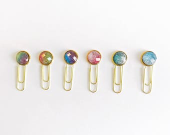 Set of 6 Ombre Glitter Planner Clips