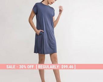 swing dress, blue knit dress,summer Dress,blue summer dress,blue short sleeve Dress,mini blue dress,tshirt blue dress, casual blue dress
