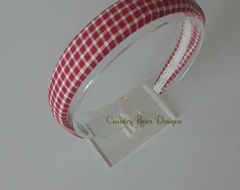 Red an Beige Plaid Headband_Fabric Headband_Padded Headband