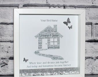 New Home Gift, Personalised New Home Box Frame Gift, Housewarming Gift, New Home Keepsake, Personalised Gift, Wall Art, Home Sweet Home