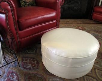 Vintage White Ottoman Round Vinyl Stool Hassock Footstool Mid Century Retro White Vinyl Foot & Round footstool | Etsy islam-shia.org