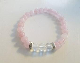 Delicate rose quartz with clear quartz bracelet designed by DBLorgan