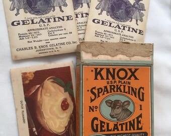 Vintage Knox U.S.P. Plain Sparkling No.1 Gelatine Box w/ Contents + Recipe Booklets