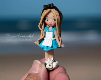 alice in wonderland, OOAK, figures, dolls, fimo, polymer clay, gift unique, miniatures,