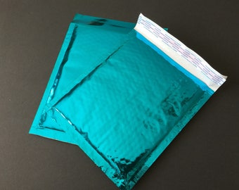 50 6x9 Teal Metallic Bubble Mailers Size 0 Self Sealing Shipping Envelopes