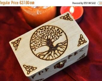 SALE 15% OFF Yggdrasil Box Tree of Life Box Tarot Box Runes Box Vikings Altar Norse Mythology Asatru Keepsake Box Jewelry Box Wicca Pagan