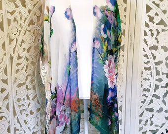 Floral Antique Lace Kimono Robe