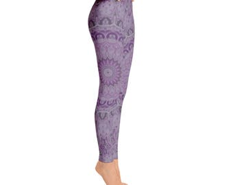Mandala Yoga Wear - Leggings Printed Purple Yoga Bottoms, Music Festival Clothing, Stretchy Pants