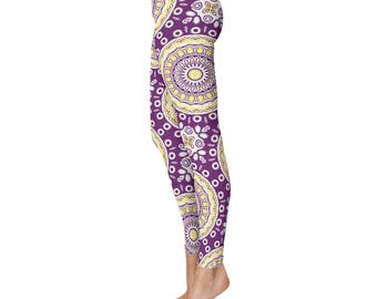 Funky Pants - Purple and Yellow Kaleidoscope Pattern Footless Tights, Stretchy Pants, Mandala Clothing