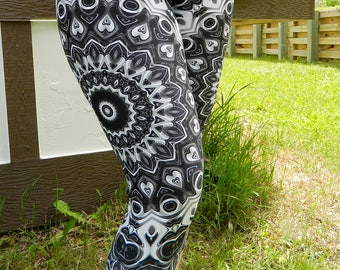 Capri Leggings - Black Mandala Yoga Pants, Monochrome Leggings, Black and White Festival Clothing
