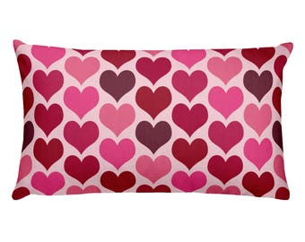 Rectangle Hearts Pillow, Pink and Red Hearts Printed Pillow, Valentine's Day Home Decor