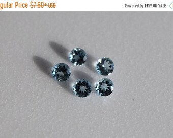 ON SALE Genuine Aquamarine 2 - 3.5 mm Faceted Round, March Birthstone, AA Quality Fine Gemstone for Designer Jewelry. Price per 2 pieces.
