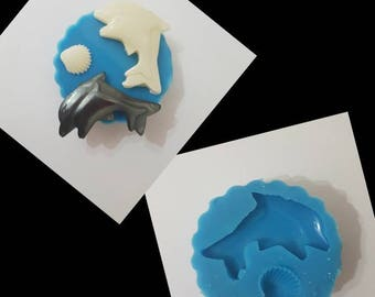 Dolphin and Shell mould made with professional silicone rubber, mould for the summer, mold for resin, mold, silicone mold