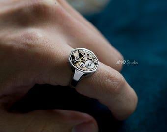 Rose Gold Signet Watch Ring - 'POET' - Mechanical Men's, Women's, Unisex Ring, Unique Statement Ring