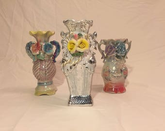 3 colorful vases