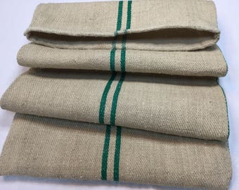 Bag for Grains / fabric in old hemp, green stripes. Antique Hemp Grain Sack