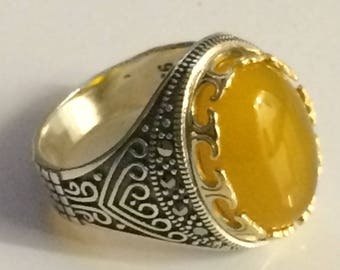 Hand made 925 sterling silver man ring ottomane style natural yamani agate stone 9.75 USA size