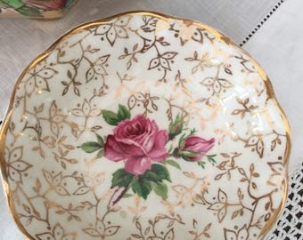 Delightful Rose & Chintz Vintage Midwinter Butter Dish, Pin Dish, Jewelry Dish