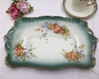 Exquisite Antique Floral Dresser Tray, Dressing Table Tray