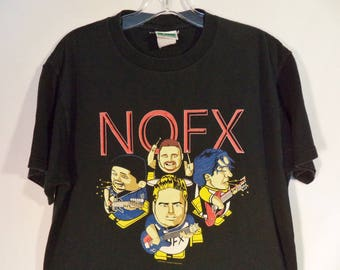 NOFX 90s hardcore punk rock t shirt// Vintage Cinder Block Inc Oakland California// Black cotton graphic concert tee// Unisex size medium M