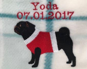 Personalised Pug fleece blanket